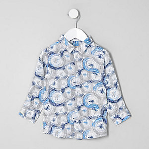 Mini - Wit overhemd met wespstempels voor jongens