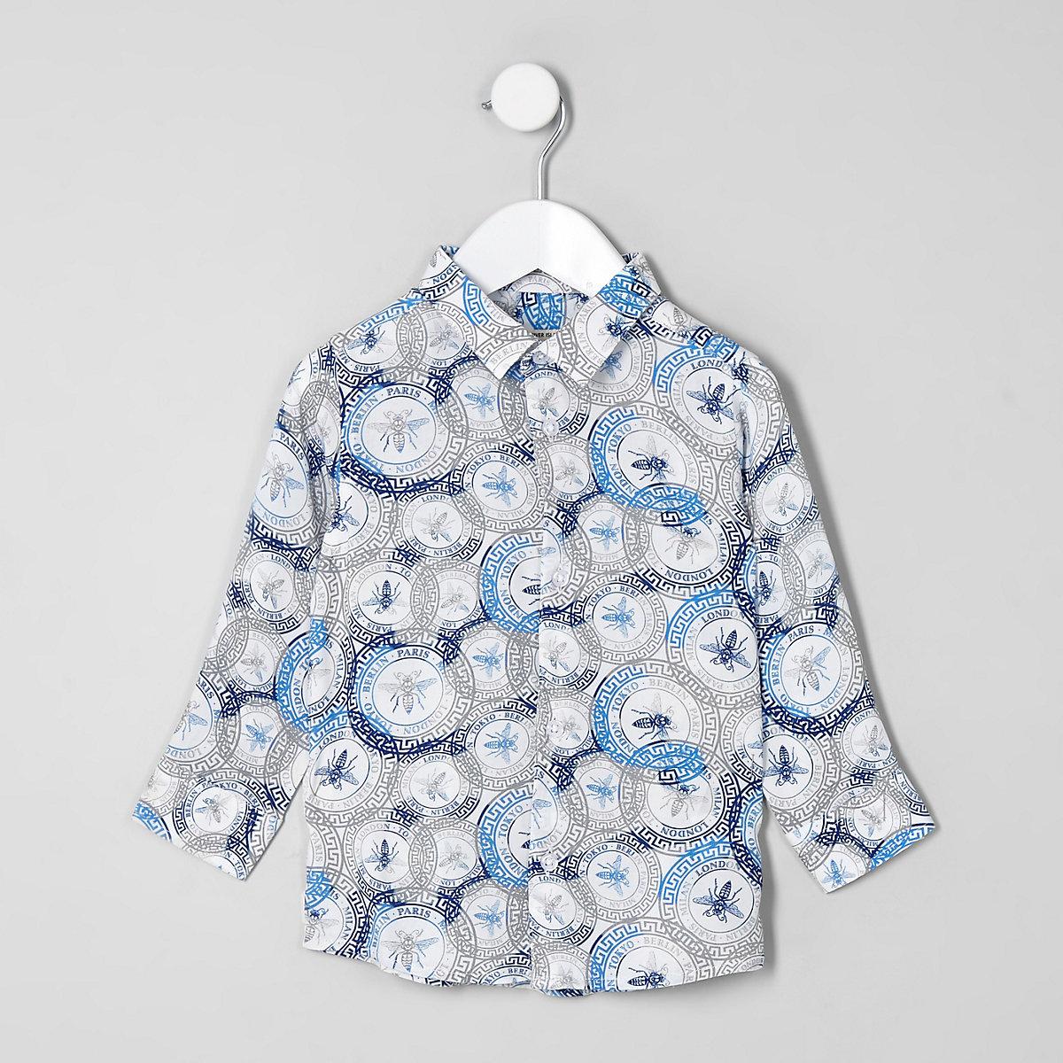Chemise blanche imprimé guêpe mini garçon