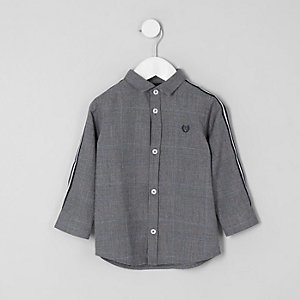 Mini boys grey check tape shirt