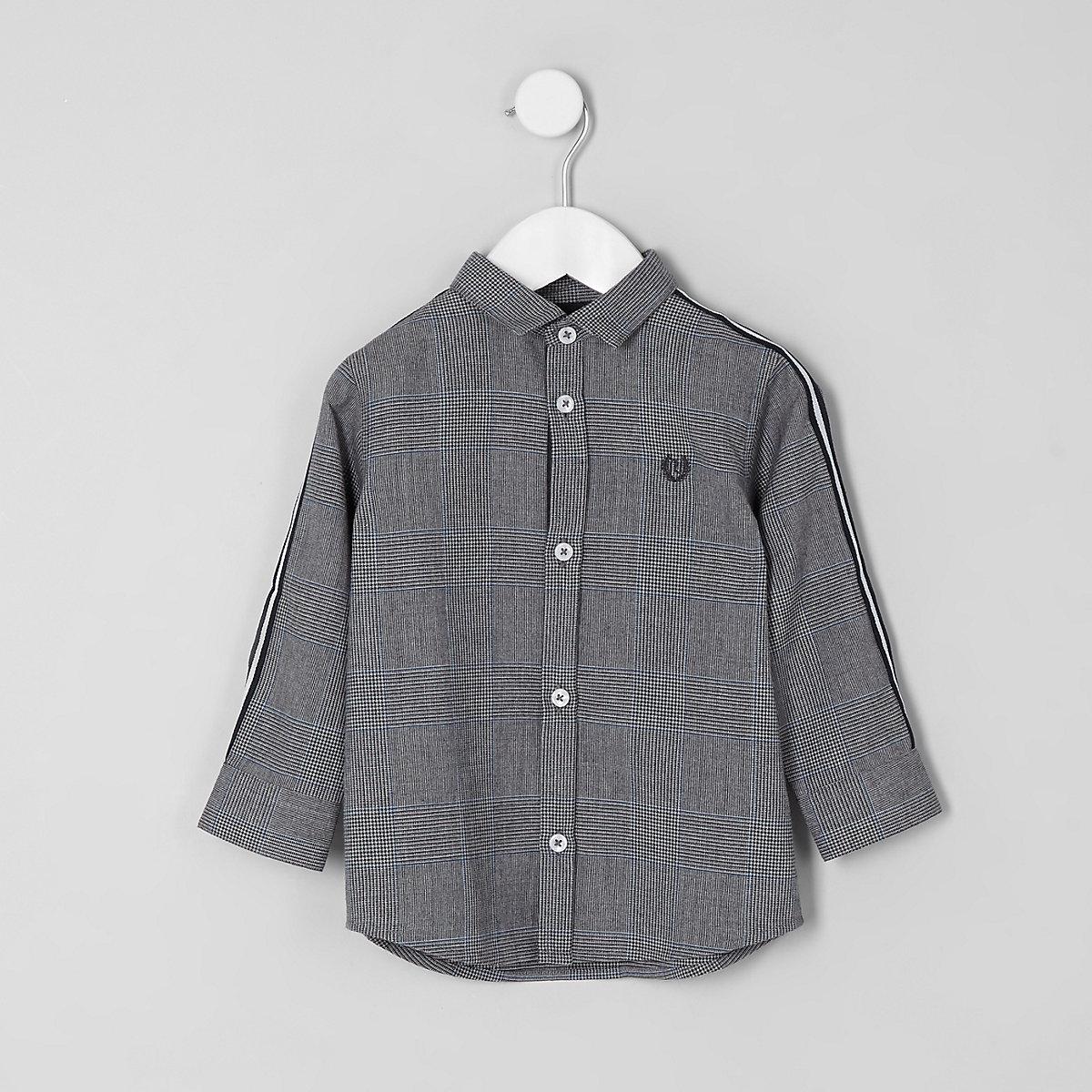 Mini boys grey check tape shirt