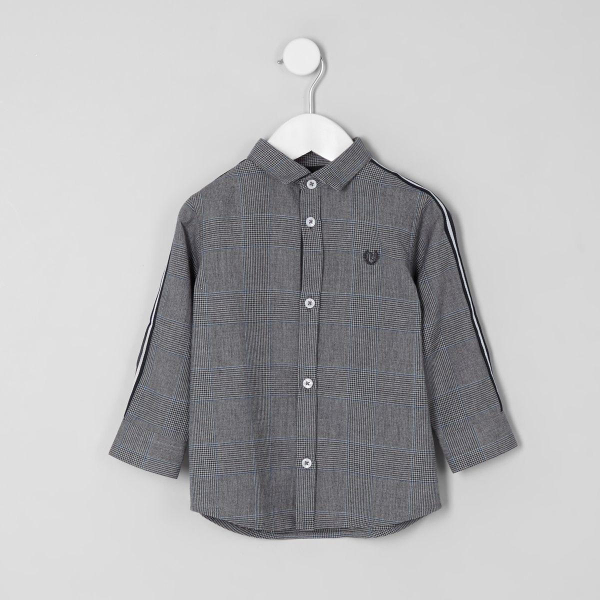 Chemise à carreaux grise avec bandes latérales mini garçon