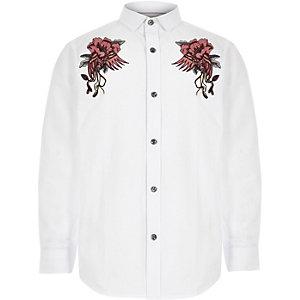 Wit geborduurd overhemd met lange mouwen voor jongens