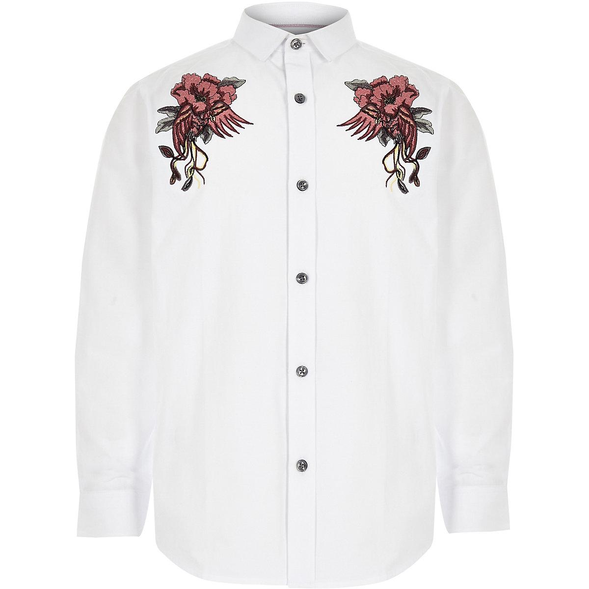 Chemise blanche brodée à manches longues pour garçon