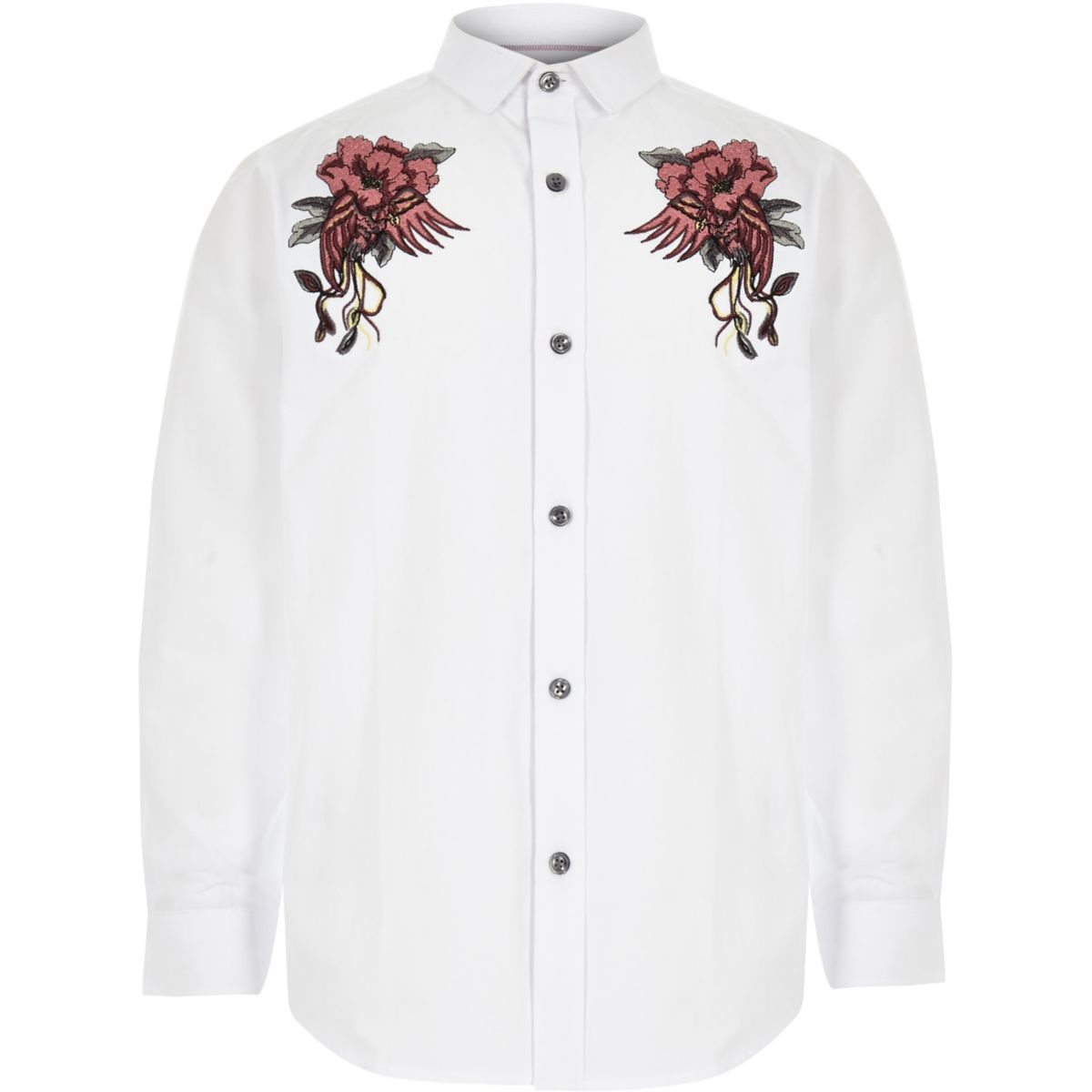 Boys white embroidered long sleeve shirt
