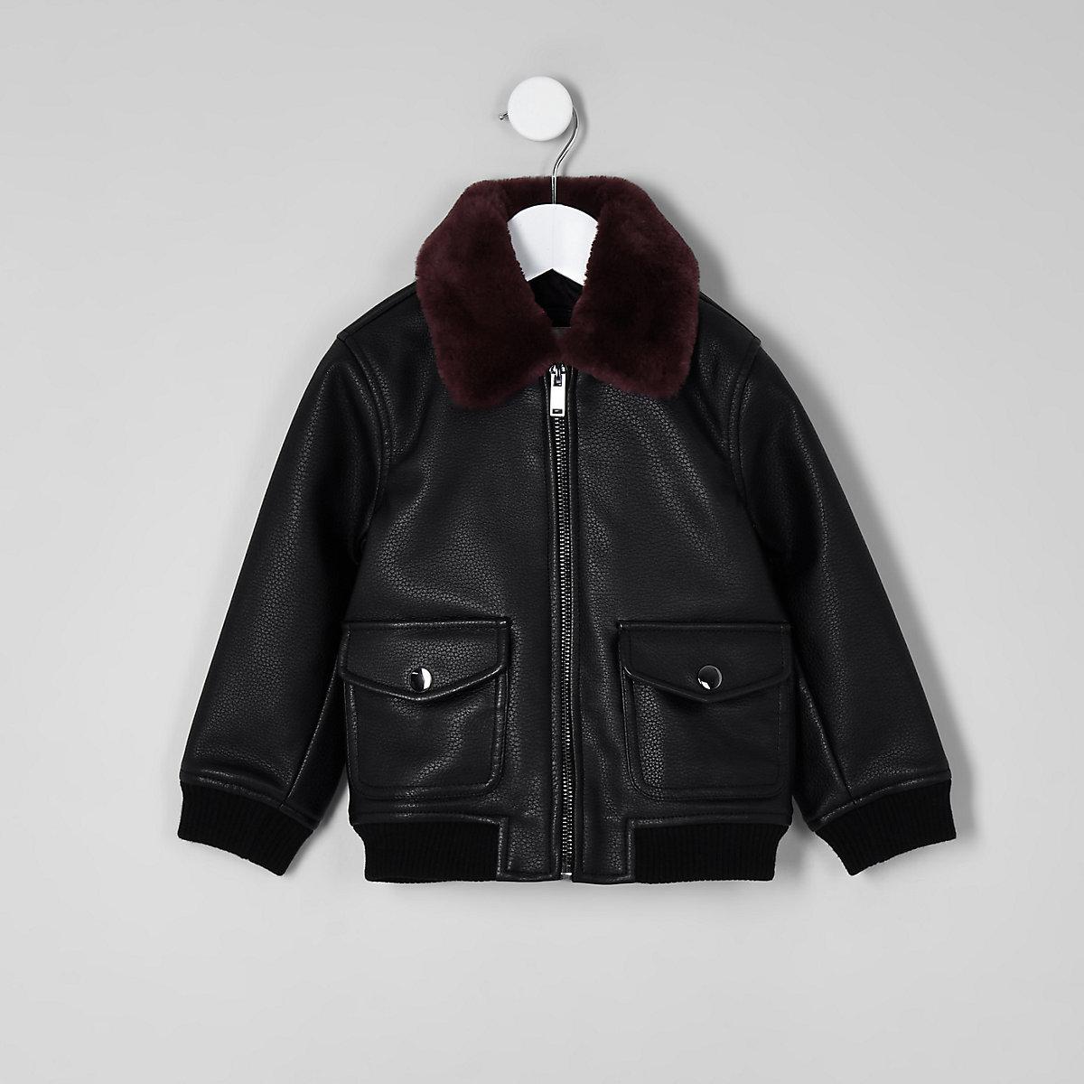 Mini boys black leather fleece bomber jacket