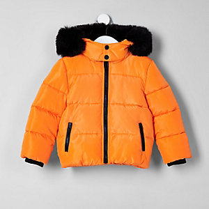 Mini boys orange faux fur hood puffer coat