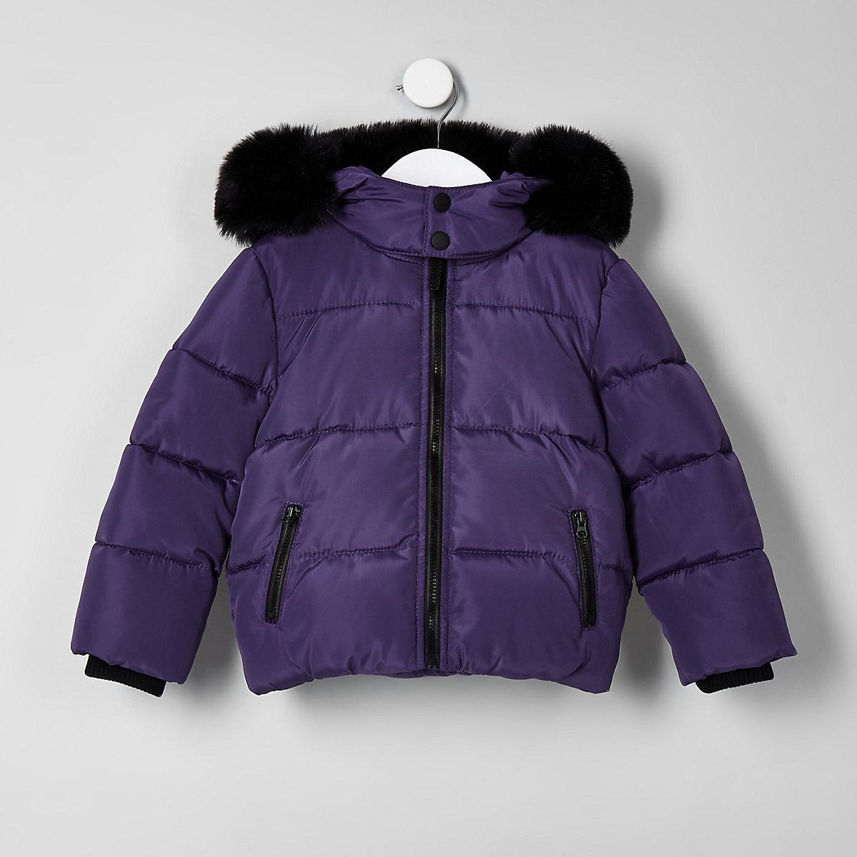 Mini boys purple faux fur hood puffer coat