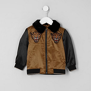 Mini boys gold faux fur collar trophy jacket