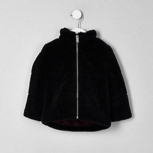 Mini - Zwart gewatteerd jack met borg voor jongens