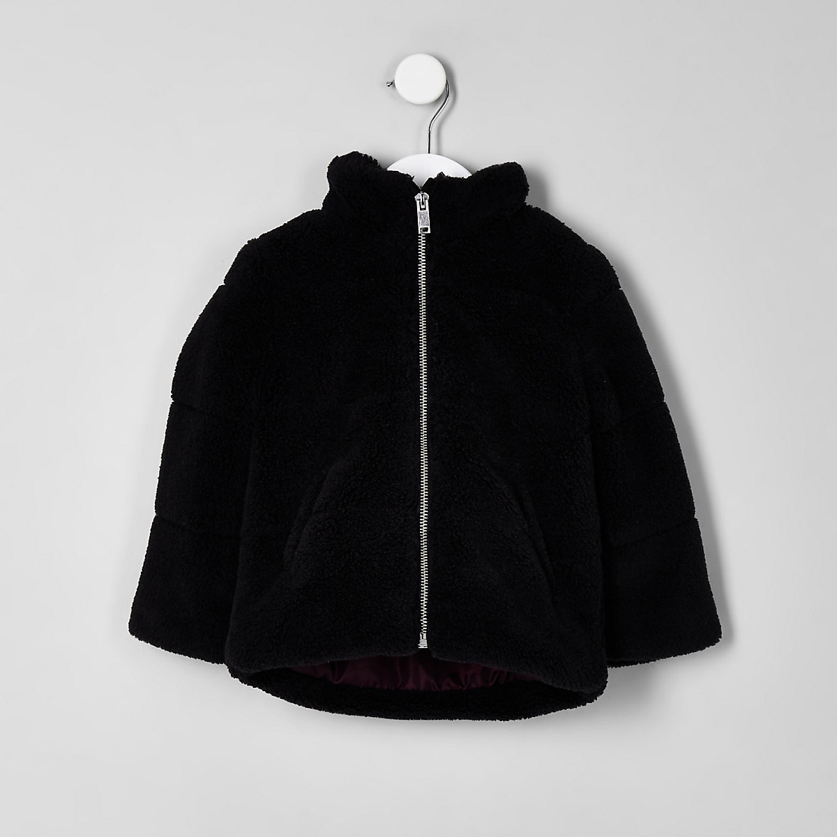 Mini boys black fleece puffer jacket