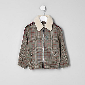 Mini boys brown check fleece trucker jacket