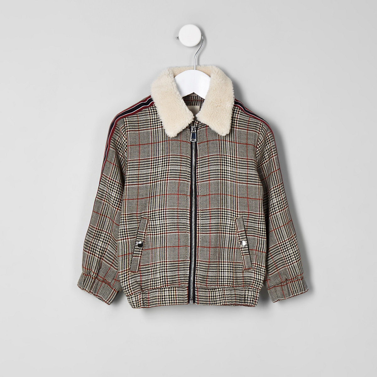 Mini boys brown check borg trucker jacket