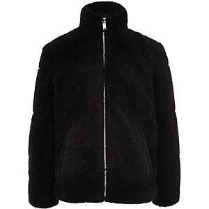 Veste matelassée noire imitation peau de mouton pour garçon