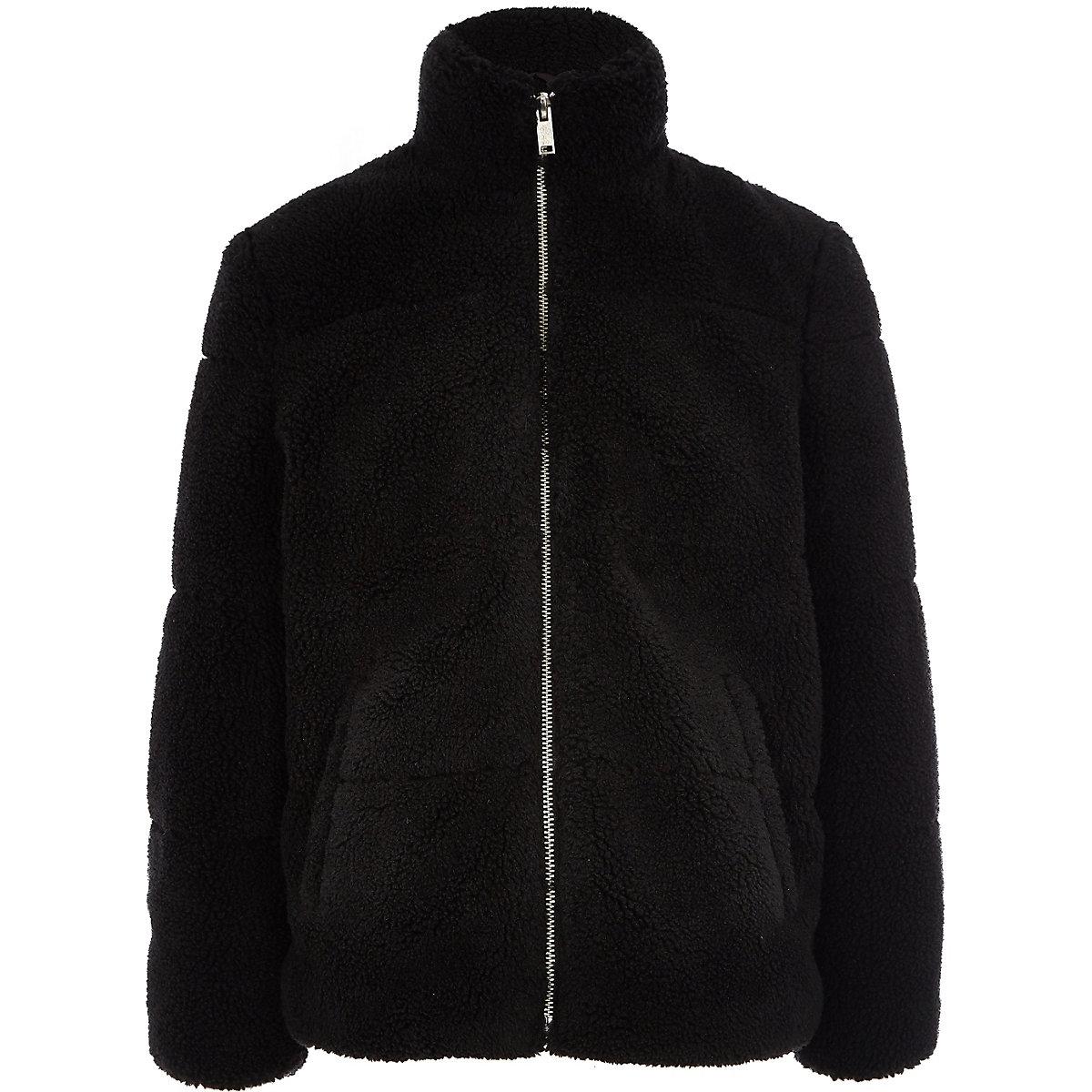 Boys black fleece puffer jacket