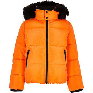 Boys orange faux fur hood puffer coat
