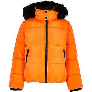 Doudoune à capuche orange avec fausse fourrure garçon