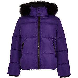 Boys purple faux fur hood puffer coat