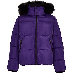 Doudoune à capuche violette avec fausse fourrure pour garçon