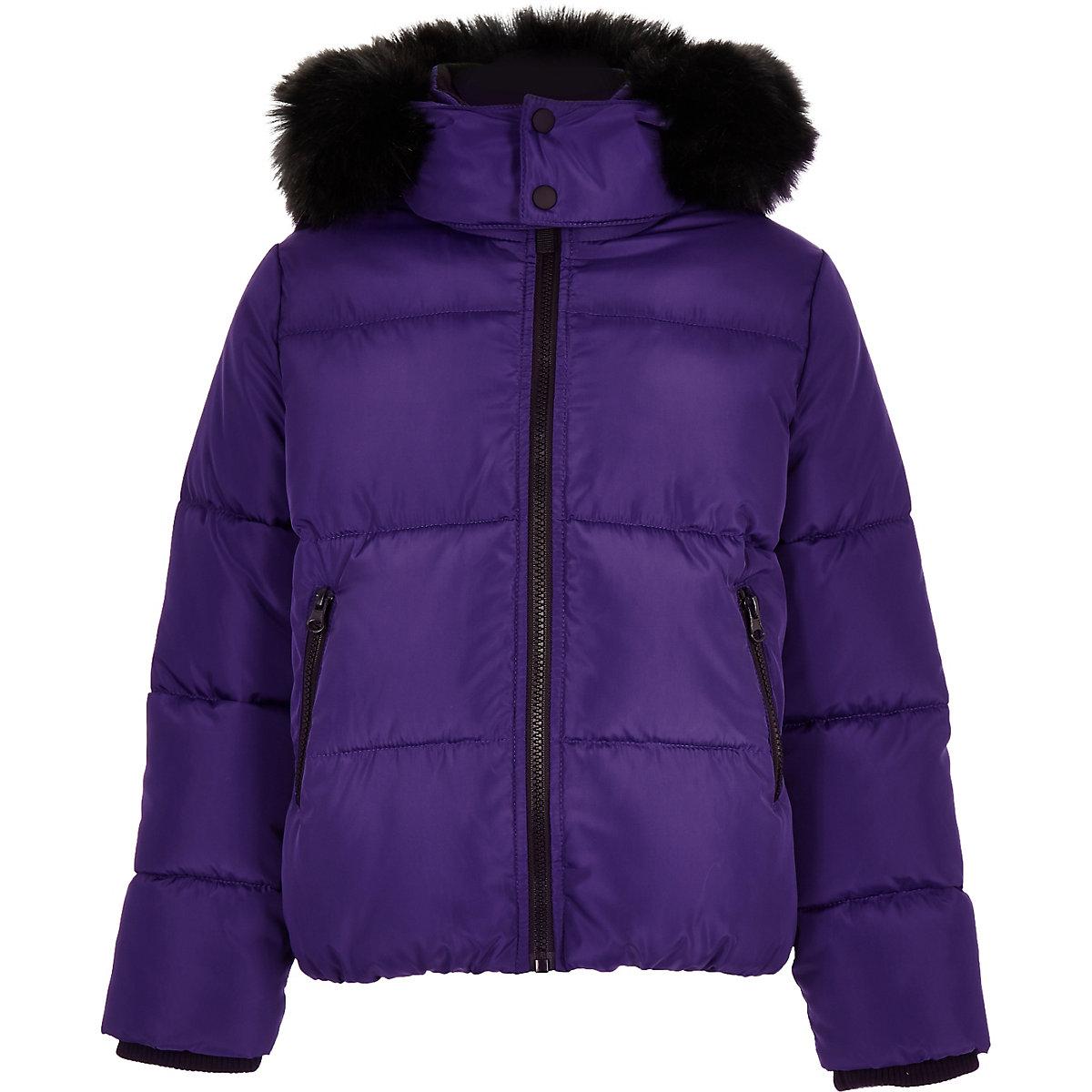 Boys purple faux fur hood puffer coat