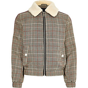 Boys brown check fleece trucker jacket