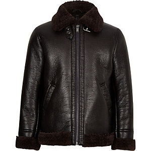 Boys black faux shearling aviator jacket