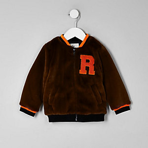 Mini boys brown faux fur tipped bomber jacket