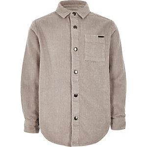 Veste-chemise grise à manches longues en velours côtelé épais