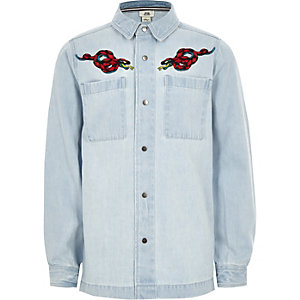 Boys light blue denim snake shacket