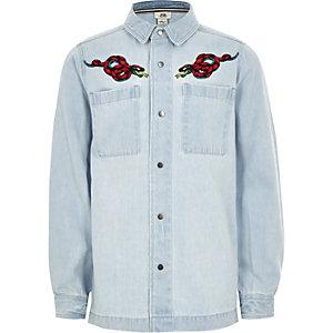 Hellblaue Jeans-Hemdjacke