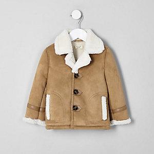 Veste marron clair avec imitation peau de mouton garçon