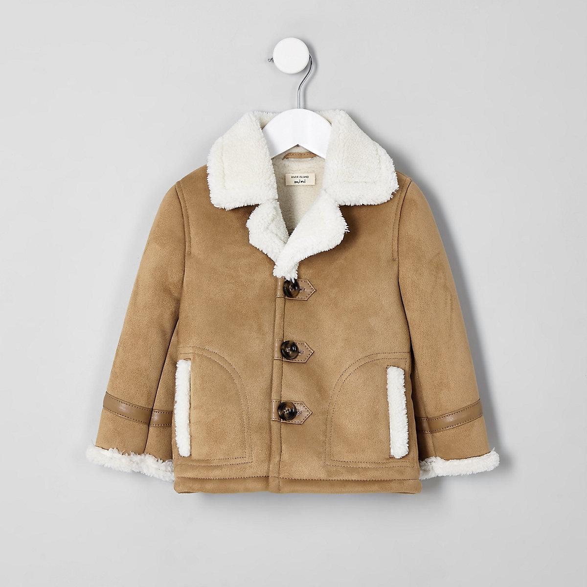 Boys light brown shearling jacket