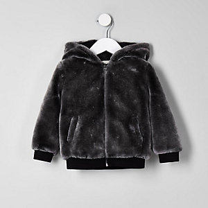 Mini boys grey faux fur hooded bomber jacket