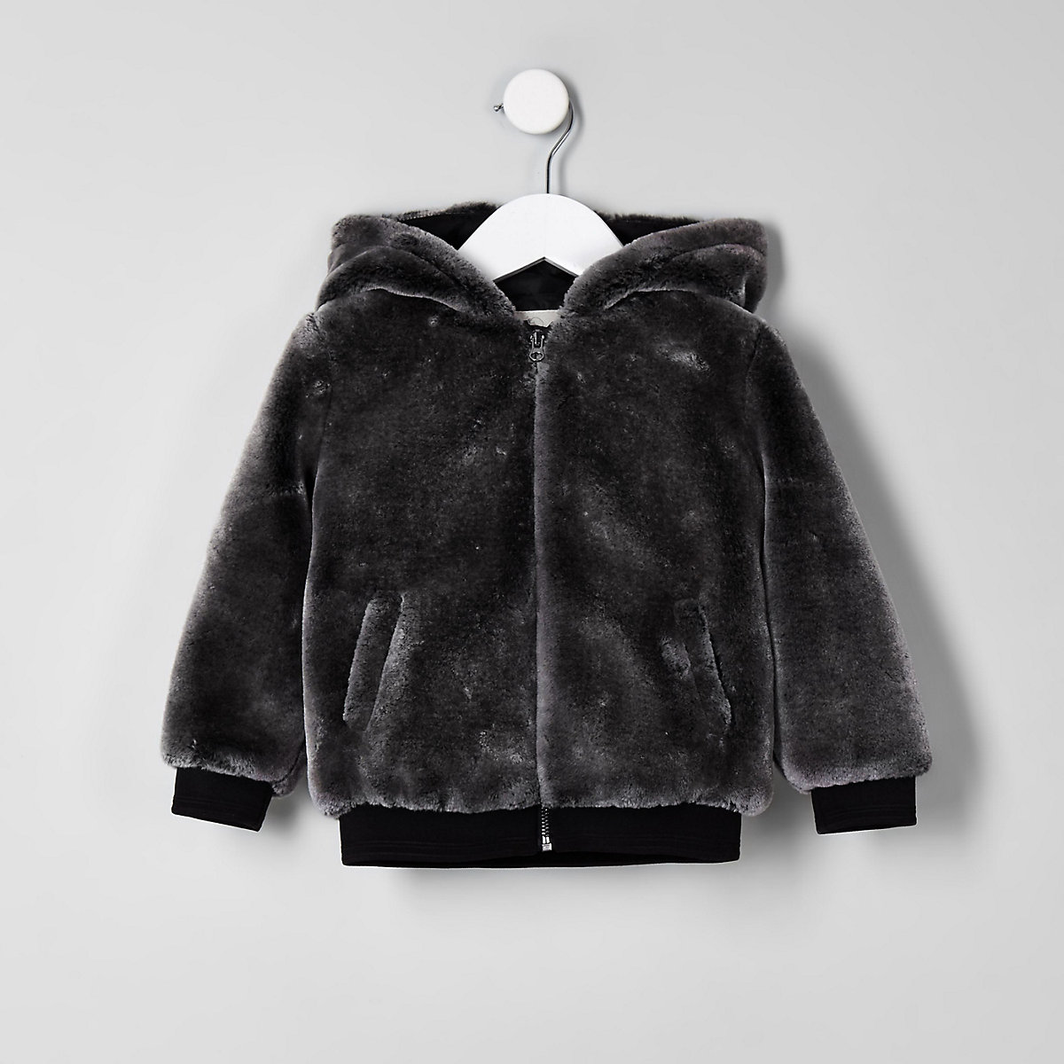 Mini boys grey faux fur hooded bomber jacket