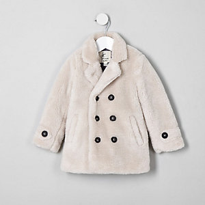 Mini kids ecru borg double breasted coat
