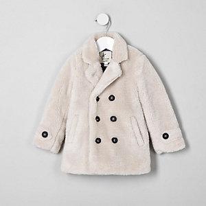 Mini boys ecru borg double breasted coat