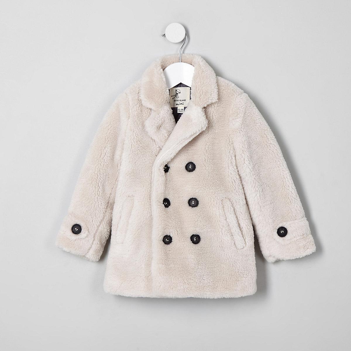 Mini kids ecru borg double breasted coat