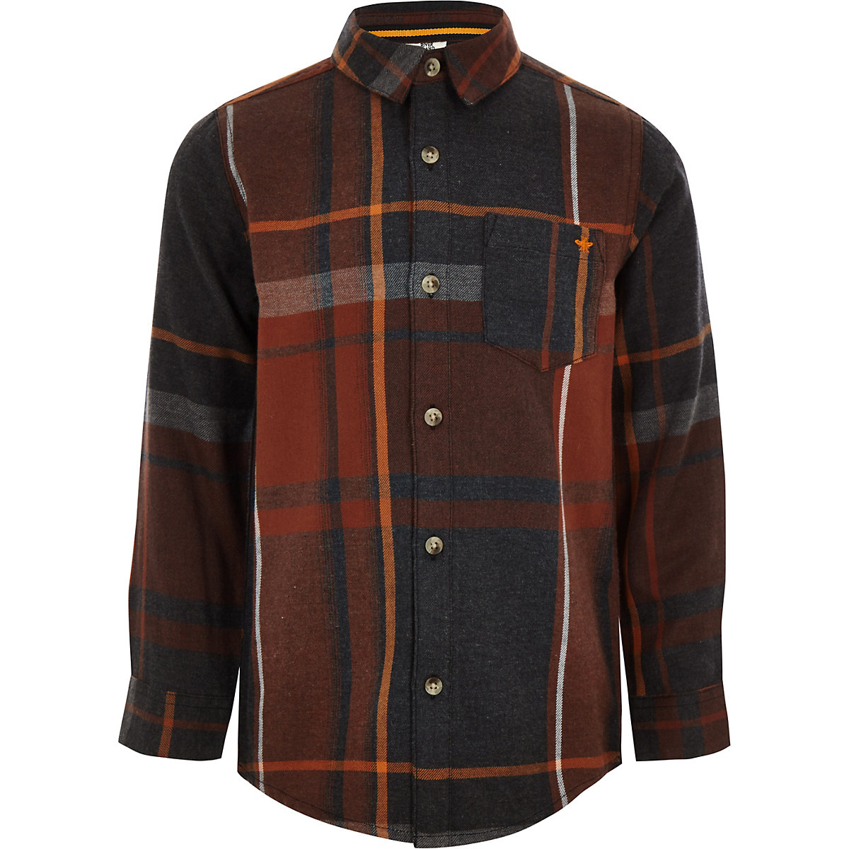 Boys red check long sleeve button-up shirt