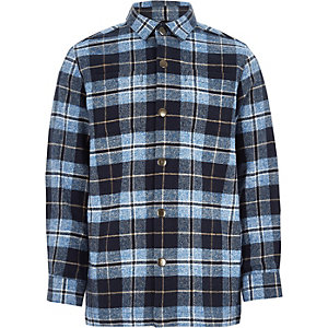 Boys blue check chunky long sleeve shacket