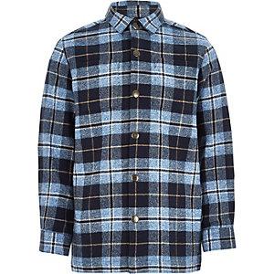 Veste-chemise à carreaux bleus et manches longues épaisses pour garçon