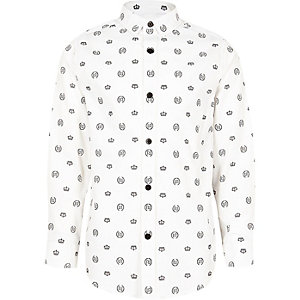 Boys white crown print tape side button shirt