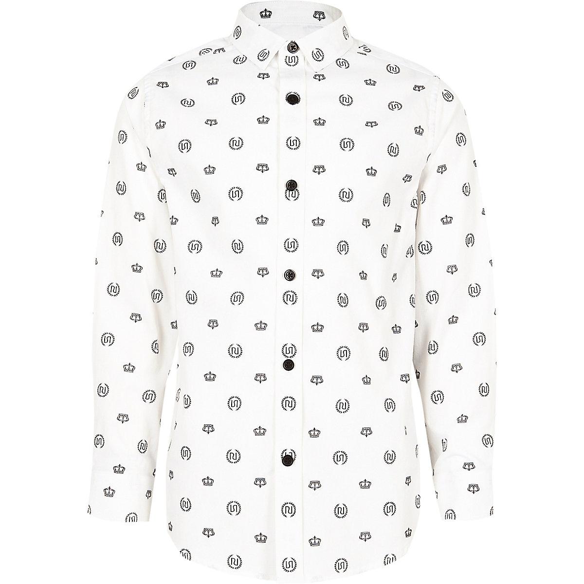 Boys white crown print tape side button shirt