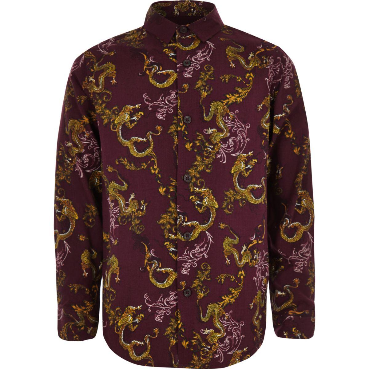 Boys red dragon print long sleeve shirt