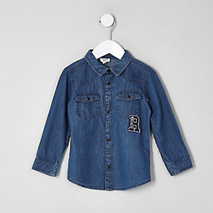 Mini boys blue western badge shirt