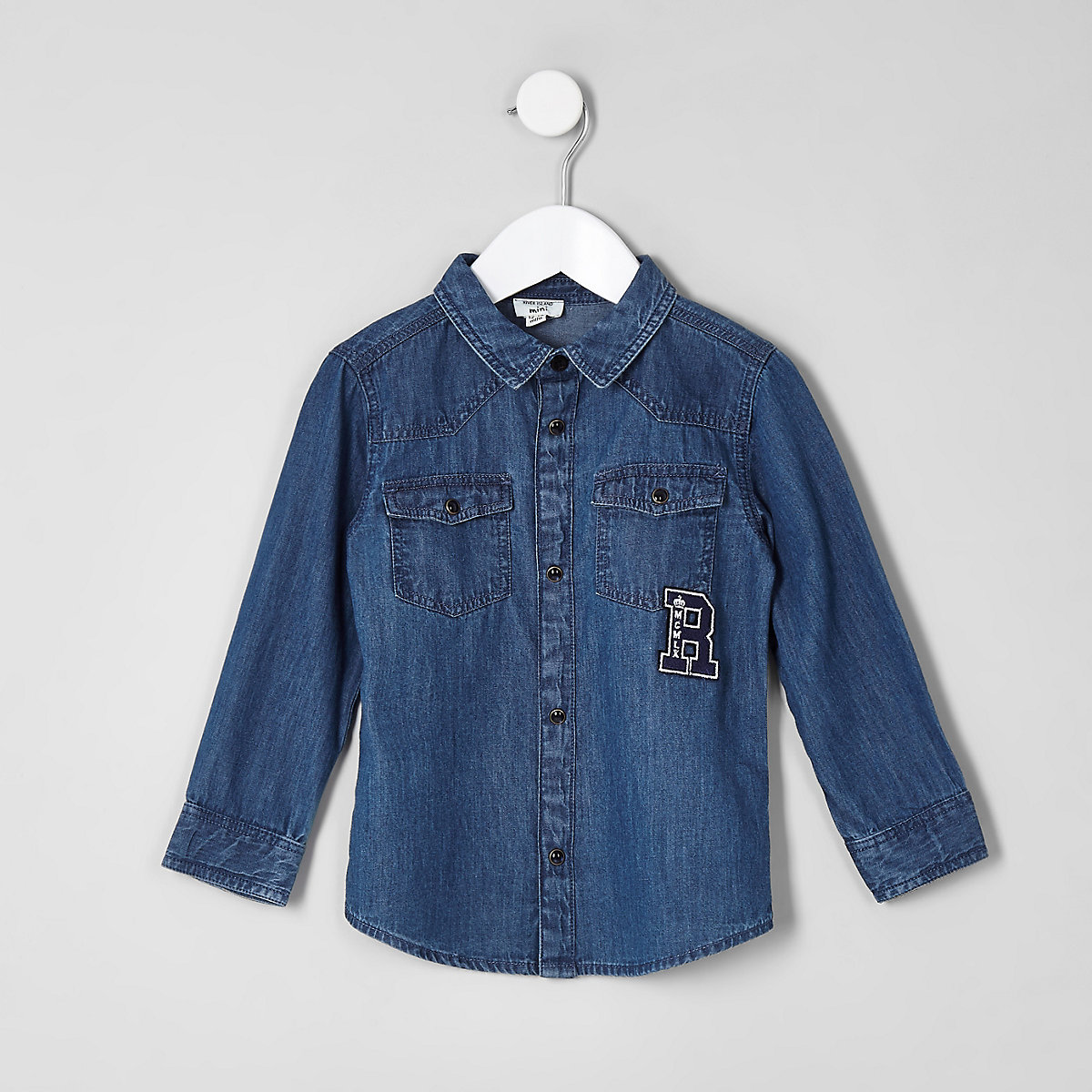 Mini boys blue western badge shirt