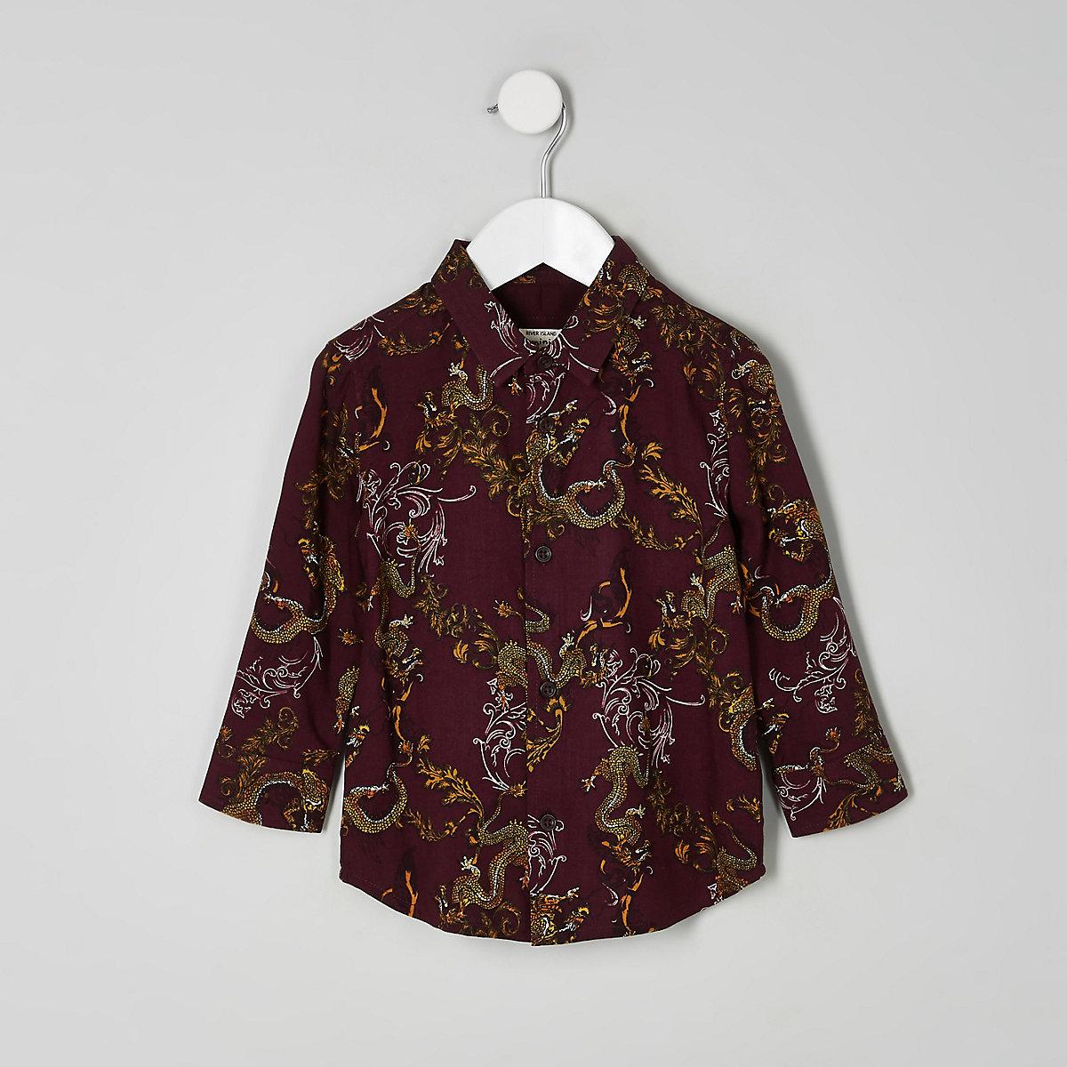 Chemise à imprimé dragons marron mini garçon