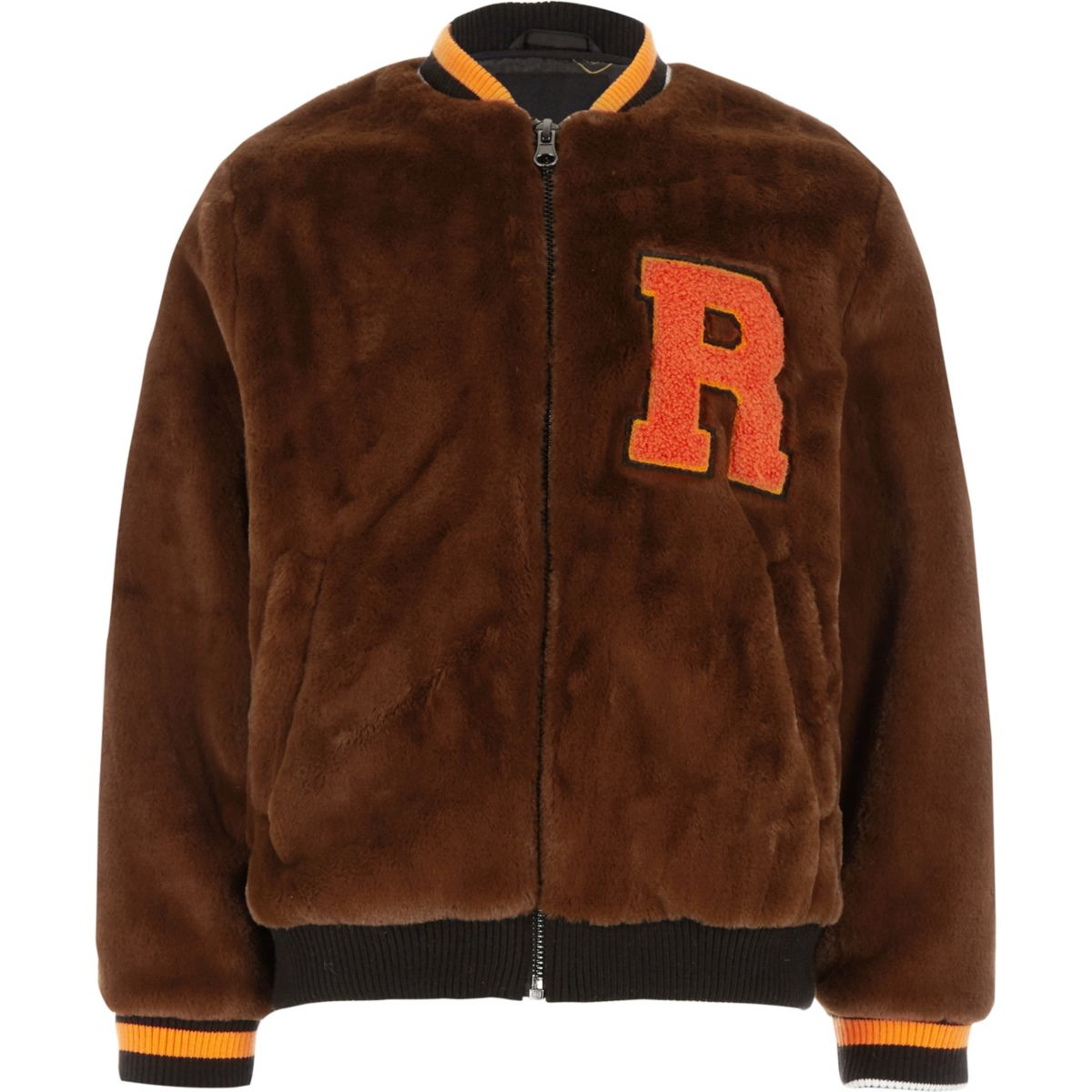 Boys brown faux fur tipped bomber jacket