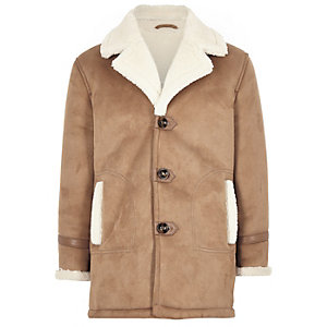 Boys light brown shearling trim jacket