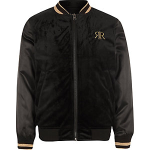 Boys black embroidered tipped bomber jacket