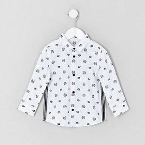Mini boys white RI crown print shirt