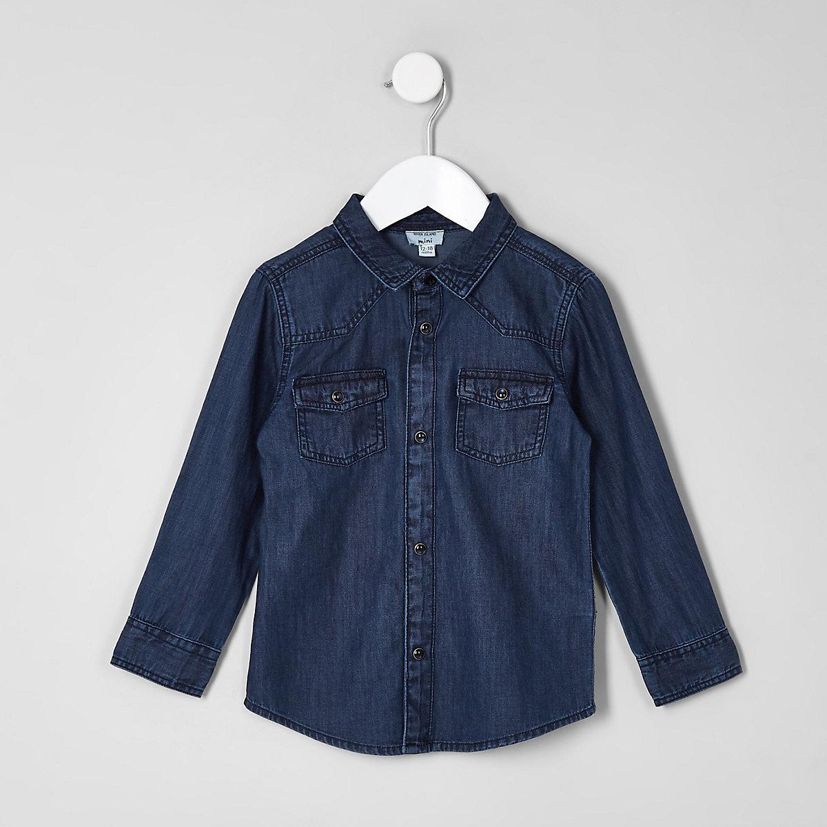 Mini boys mid blue western denim shirt